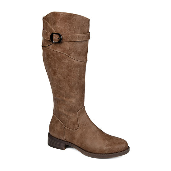 Journee Collection Womens Brooklyn Wide Calf Stacked Heel  Riding Boots