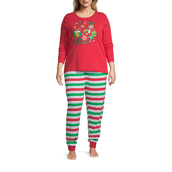 Dr. Seuss Grinch Family Women's Plus 2 Piece Pajama Set