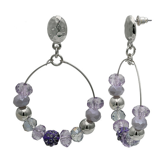 Mixit Purple Beaded Hoop Hoop Earrings