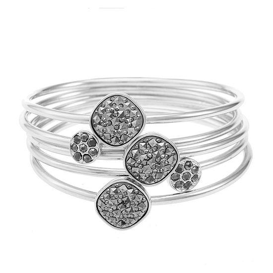 Liz Claiborne Silver Tone Square Bangle Bracelet