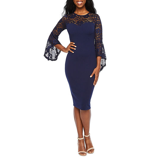Premier Amour 3/4 Bell Sleeve Sheath Dress
