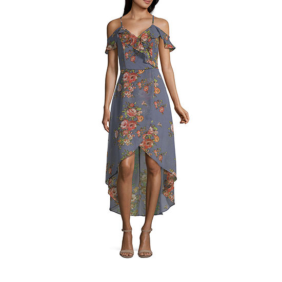 Byer California-Juniors Short Sleeve Floral Maxi Dress
