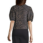 Worthington Womens Crew Neck Short Sleeve Blouse