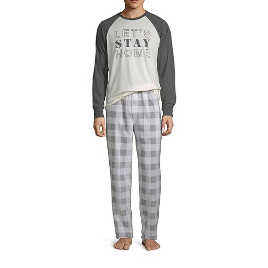Holiday #Famjams Grey And Black Buffalo Family Mens 2-pc. Pant Pajama Set