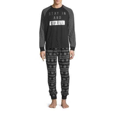 Holiday #Famjams Black Fairisle Foil Family Mens 2-pc. Pant Pajama Set