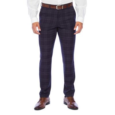 The Savile Row Co Navy Plaid Slim Fit Stretch Suit Pants