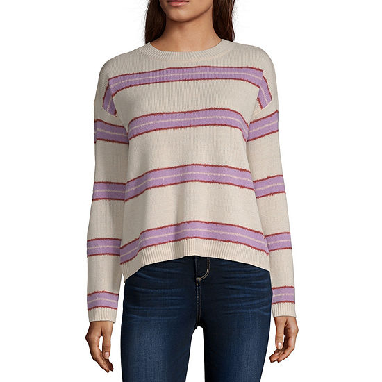 Arizona-Juniors Womens Crew Neck Long Sleeve Striped Pullover Sweater