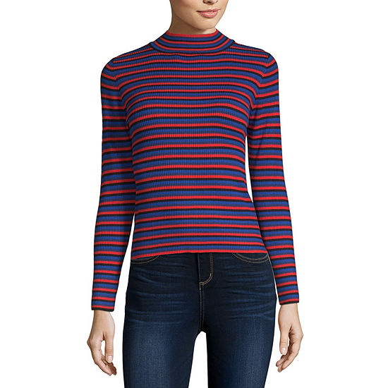 Arizona Womens Mock Neck Long Sleeve Pullover Sweater-Juniors