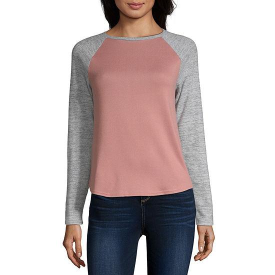 Arizona Juniors-Womens Crew Neck Long Sleeve T-Shirt
