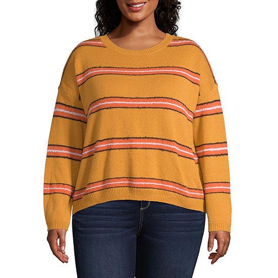 Arizona Juniors Plus Womens Crew Neck Long Sleeve Striped Pullover Sweater