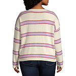 Arizona-Juniors Plus Womens Crew Neck Long Sleeve Striped Pullover Sweater