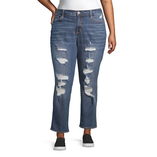 Arizona Womens High Waisted Cuffed Relaxed Fit Jean - Juniors Plus