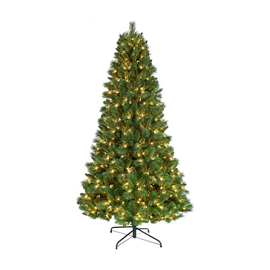 Puleo International 7 1/2 Foot Pine Pre-Lit Christmas Tree