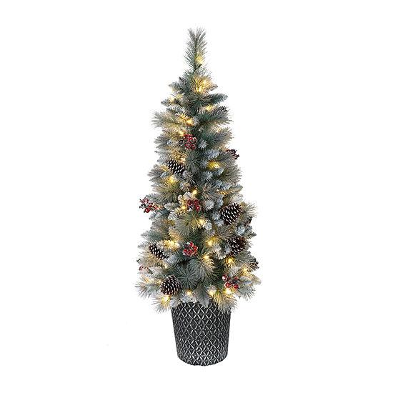 Puleo International 4 1/2 Foot Pine Pre-Lit Christmas Tree