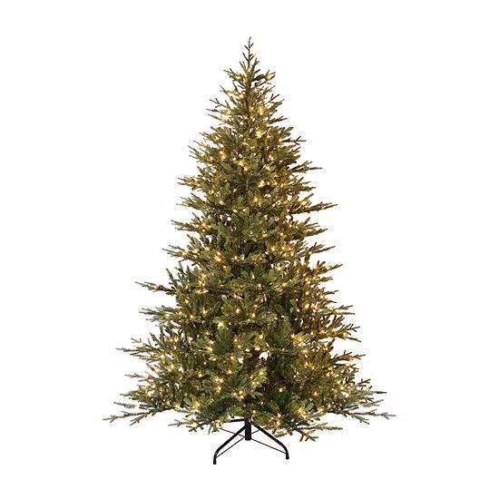 Puleo International 7 1/2 Foot Pine Pre-Lit Christmas Tree