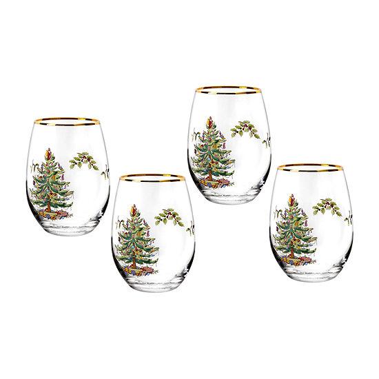 Spode Christmas Tree 4-pc. Wine Glass