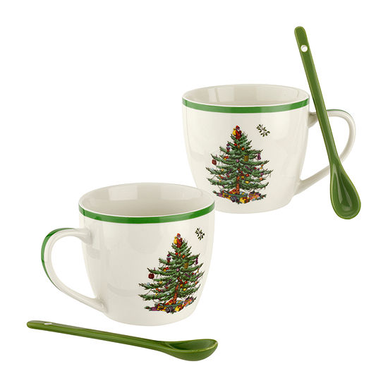 Spode Christmas Tree 4-pc. Cup and Saucer Set