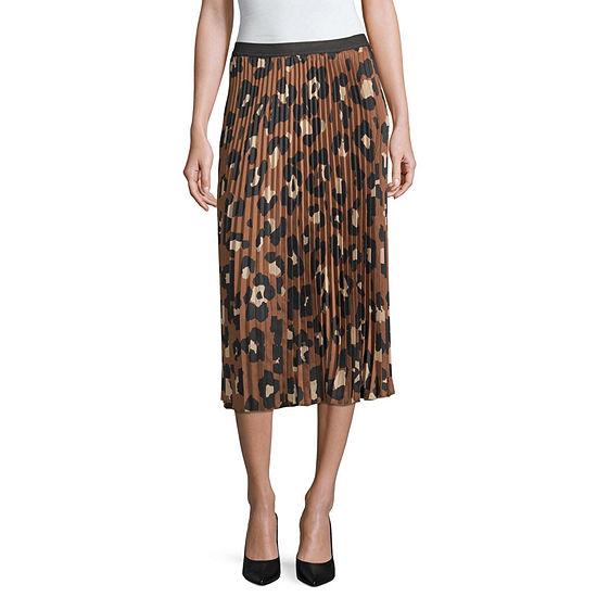 Worthington Womens Elastic Waist Midi Pleated Skirt