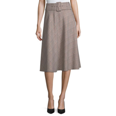 Worthington Womens High Waisted Midi A-Line Skirt