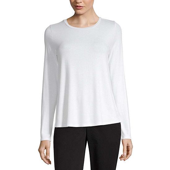 Worthington-Womens Crew Neck Long Sleeve T-Shirt