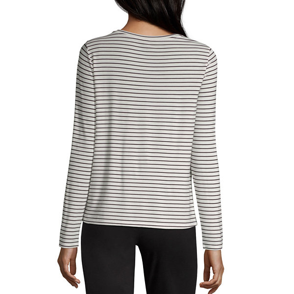 Worthington-Womens Crew Neck Long Sleeve T-Shirt