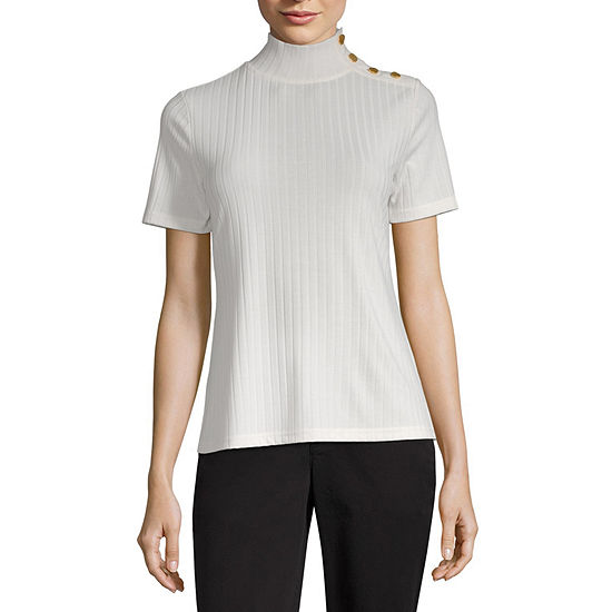Worthington Womens Button Mock Neck Top