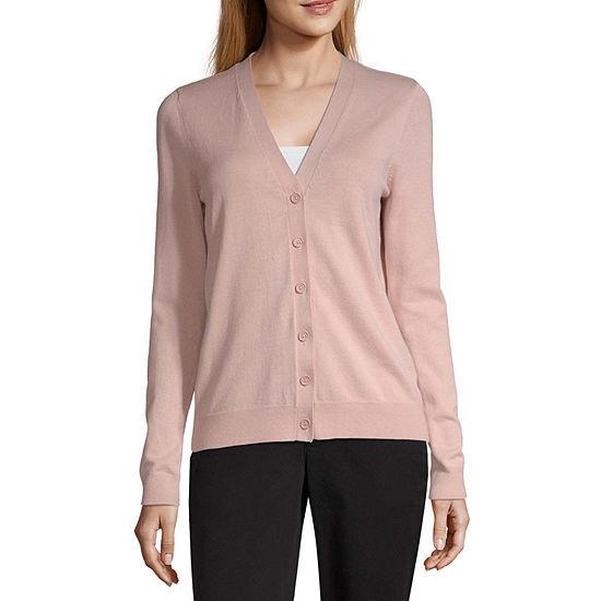 Worthington Womens V Neck Long Sleeve Button Cardigan