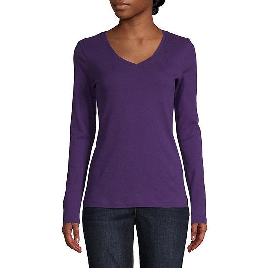 St. John's Bay-Womens V Neck Long Sleeve T-Shirt