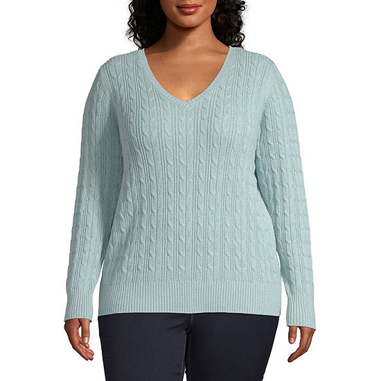 St. John's Bay-Plus Womens V Neck Long Sleeve Pullover Sweater