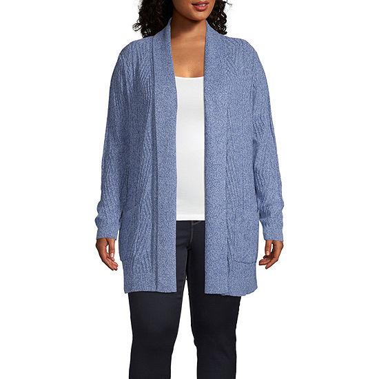 St. John's Bay Womens Long Sleeve Open Front Cardigan-Plus