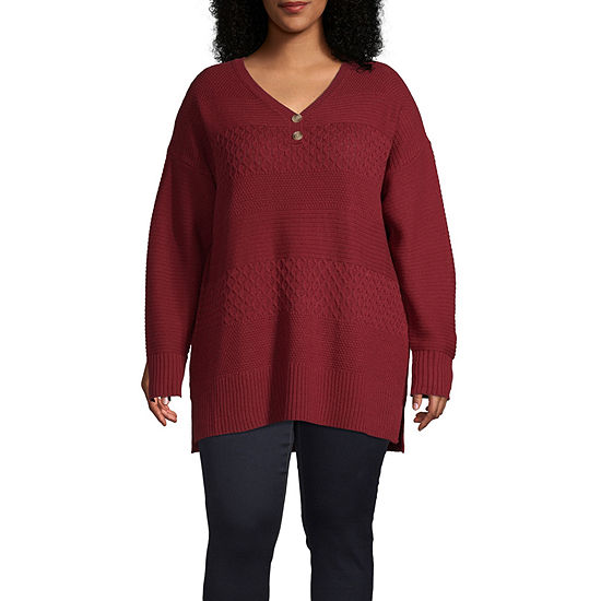 St. John's Bay-Plus Womens Henley Neck Long Sleeve Pullover Sweater