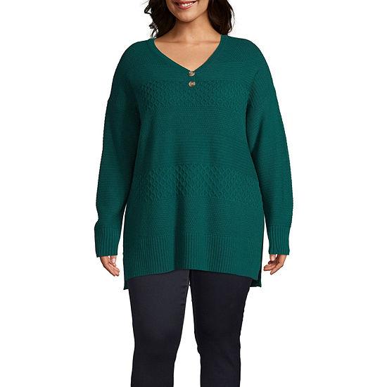 St. John's Bay-Plus Womens Henley Neck Long Sleeve Pullover Sweater