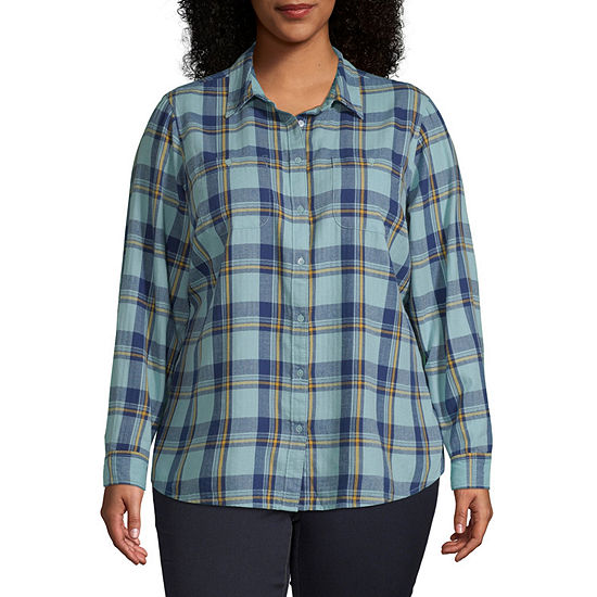 St. John's Bay-Plus Womens Long Sleeve Regular Fit Button-Front Shirt
