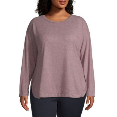 St. John's Bay Womens Crew Neck Long Sleeve Knit Blouse-Plus