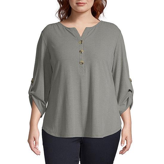 St. John's Bay Womens Henley Neck 3/4 Sleeve Henley Shirt - Plus