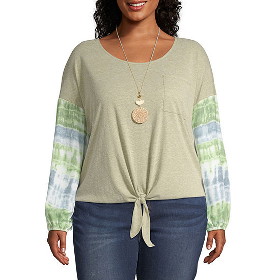 Truself Long Sleeve Tie Front T-Shirt With Necklace-Plus