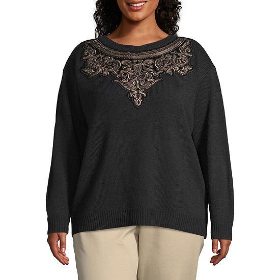 Worthington Womens Embellished Sweater - Plus