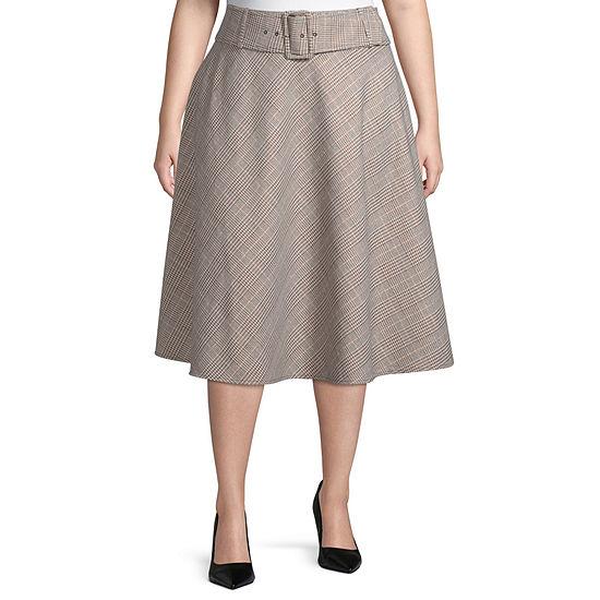 Worthington Womens Belted Boot Skirt - Plus