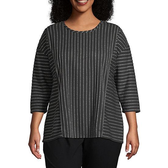 Liz Claiborne 3/4 Sleeve Stripe Tee- Plus
