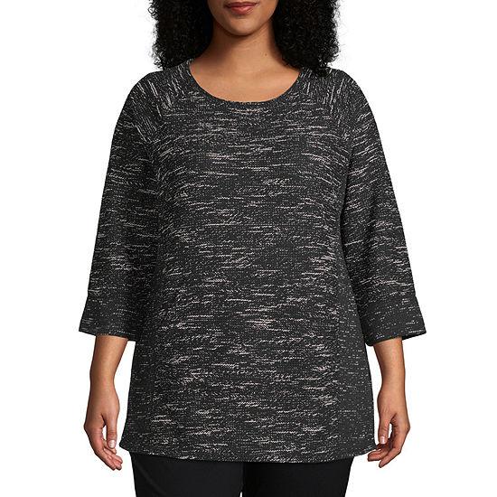 Liz Claiborne Weekend 3/4 Sleeve Kanga Pocket Tunic - Plus
