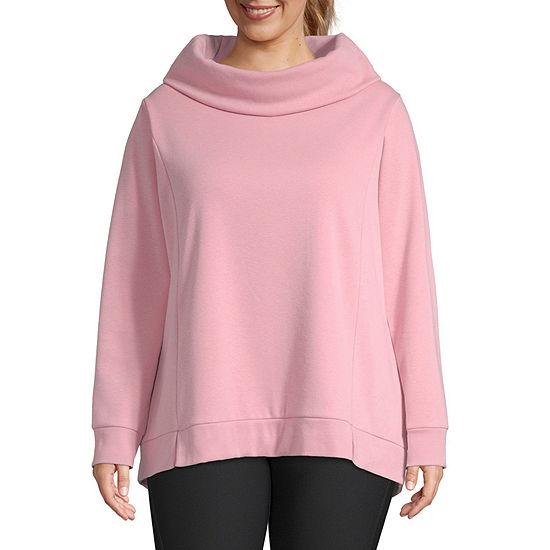 Xersion Plus Womens Cowl Neck Long Sleeve Sweatshirt