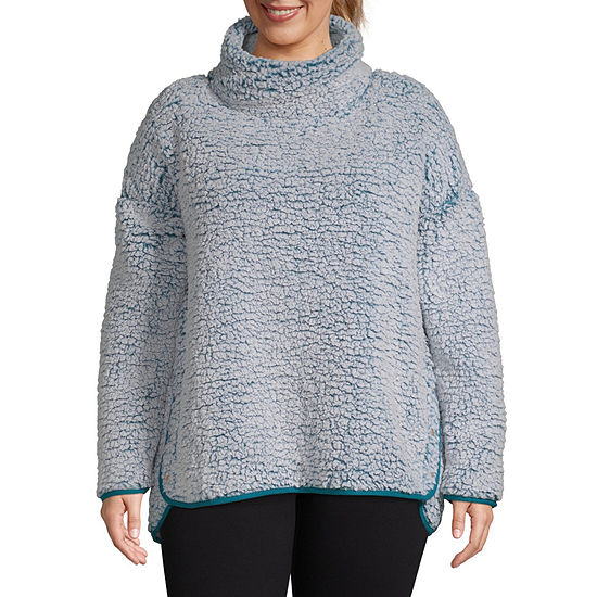 Xersion Womens Mock Neck Long Sleeve Sweatshirt Plus
