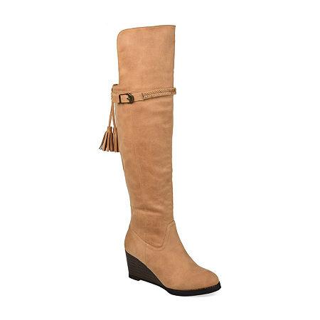 Journee Collection Womens Jezebel Wedge Heel Over the Knee Boots, 8 1/2 Medium, Brown