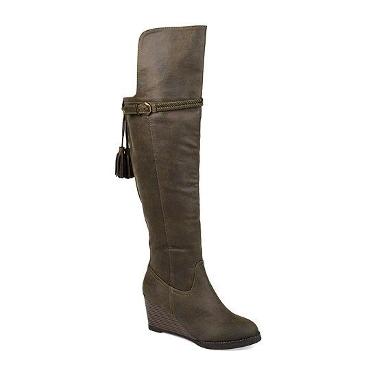 Journee Collection Womens Jezebel Wide Calf Wedge Heel Over the Knee Boots