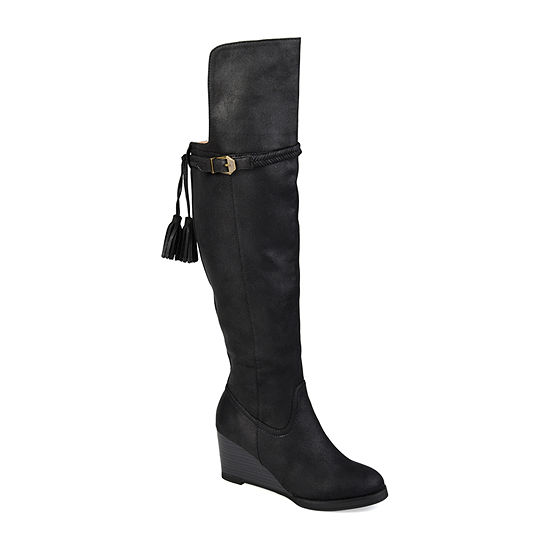 Journee Collection Womens Jezebel Over the Knee Boots Wedge Heel