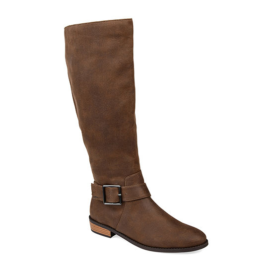 Journee Collection Womens Winona Wide Calf Riding Boots Stacked Heel