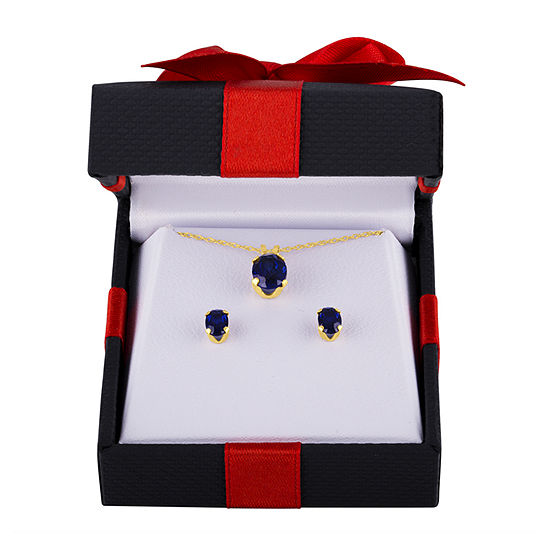 Lab Created Blue Sapphire 10K Gold 2-pc. Jewelry Set