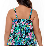 Trimshaper Slimming Control Floral Tankini Swimsuit Top Plus