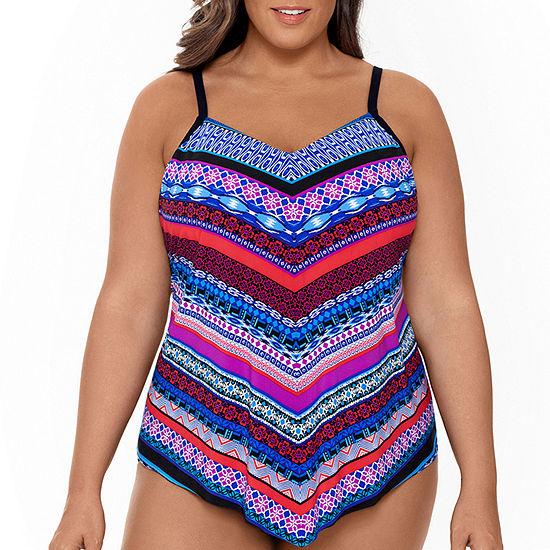 Trimshaper Slimming Control Tankini Swimsuit Top Plus