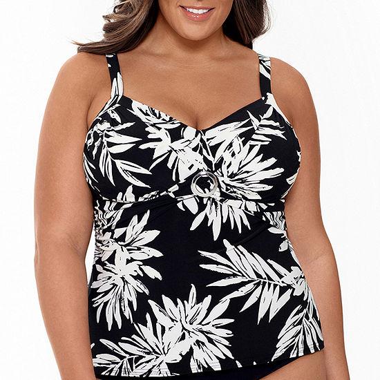 Trimshaper Slimming Control Floral Tankini Swimsuit Top Plus